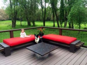 Comfortable patio furniture for backyard barbecue party