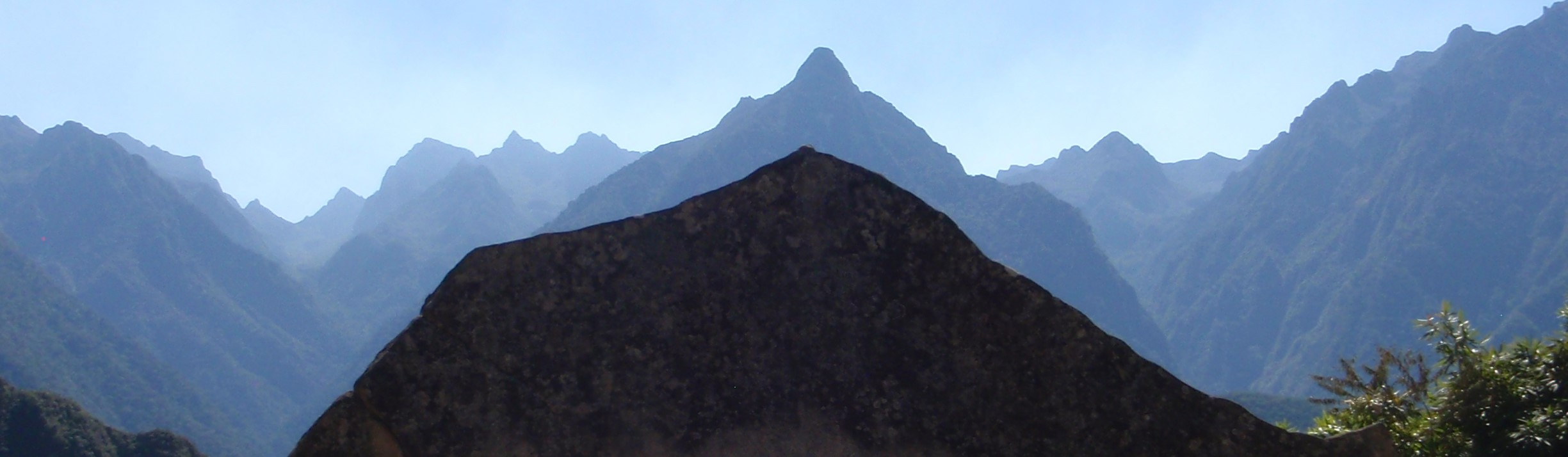 Mountain ridge silhouette at Machu, Picchu Peru, image search