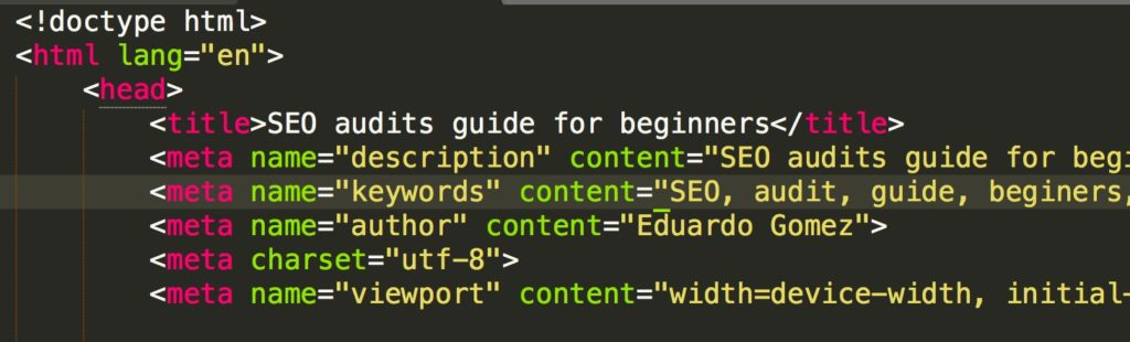 SEO Structural Audit - Picture of code including the Title, Metatag and other relevant SEO attributes.